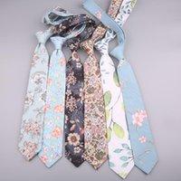 Corbatas del cuello 7 cm corbata de algodón para hombre floral impreso moda femenina arco corbata camisa Cravat Mujer Vesir