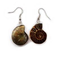 Natürliche Shell Retro-Stil Baumeln Ohrring Farbe Gespoldet Conch Fossil Reiki Heilung Anhänger Ohrringe Persönlichkeit Nostalgische Meeresschale Jewellry