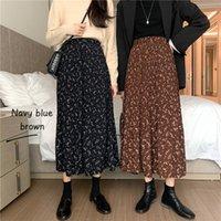 Primavera verano mujeres floral estampado falda elegante alta cintura faldas mujer saia hembra beige / marrón / negro flor plisada faldas largas j0118