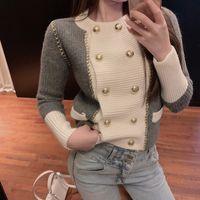 2020 Herbst Neue Frauen Oansatz Farbblock Zweireiher gestrickte kurze Hohe Taille Pullover Tops Cardigan