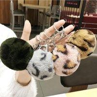 Leopardo Amor Fluffy Bola Keychain Carro Pingente Bonito Pompom Fur Ball Student Saco Chaveiro Presentes Criativos para As Mulheres Meninas