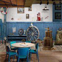 Milofi personalizzato Blu Blue Board di Legno Mediterraneo Sfondo Mediterraneo Pittura murale Decorazione1