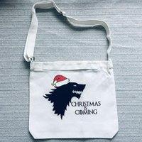 Sacs de rangement Christmas vient Direwolf Sac à main Épaule Femmes hommes garçons Filles Boucherie Tote Tote Toile Got Fans Gift1