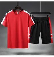 Yaz Erkek Spor Eşofman Tasarımcı Kısa Kollu Tişört Beşinci Pantolon 2 adet Giyim Setleri Koşu Homme Panelli Spor Giysiler