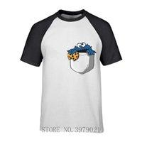 Camisetas para hombre Camiseta de monstruo de galletas encantadoras para hombres migajas en mi bolsillo homme cuello redondo manga corta tshirs adulto