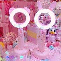Encantador rosa animal oso conejo 3 colores lámpara de mesa luz de noche para niños estudio lámpara regalos