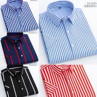 Summer de manga corta camisas de rayas casuales hombres delgada suave ocio bolsillo sin bolsillo vestido camisa retroceso regular ajuste nuevo j1216