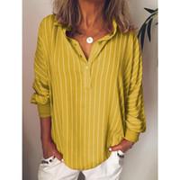 Moda donna estate camicette striscia a strisce casual a strisce con bottoni a spina di risvolto ragazza manica lunga camicia top blusa pulsante abbigliamento femminile