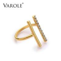 Varale 평행선 Midi knunkle 링 여성용 보석을위한 크리스탈 골드 컬러 반지 도매 anel