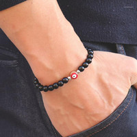 Bracelet antique ethnique Evil Eye Perles de pierre naturelle en bois à la main Turquie Braclet pour hommes Femmes Brassard bijoux Homme1