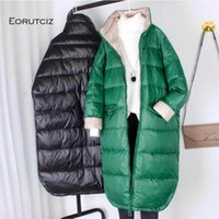 المرأة أسفل ستر اوروتسك الشتاء معطف طويل المرأة المعتاد الدافئة سترة الخريف خمر ضئيلة عارضة LM583