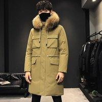 Мужской пуховик Parkas Mimi зимняя длинная куртка 80% белая утка енота собака большой воротник волос мода повседневная пальто с капюшоном