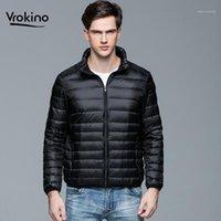 Vrokino marca 2019 moda stand colarinho inverno luz para baixo jaqueta masculina ultra clara aquecido branco pato embaixo casaco com capuz1