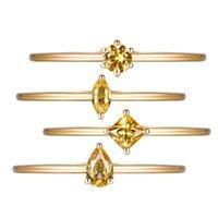 Anelli a cluster di lusso 925 solido argento sterling citrino preziose preziose di nozze fidanzamento giallo oro anello bande bei monili all'ingrosso