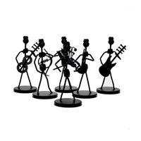 1PC Mini Fer Music Band Band Modèle Miniature Musiciens Figurines Arts Arts Craft Décorations Party Cadeau Favorise Random Design1