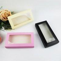هدية التفاف طويل الحجم سراويل الجوارب تخزين مربع الوردي مع نافذة أسود ضوء صناديق ورقة صفراء للهدايا 21x11x3.5cm