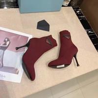 Sexy Frau Gestrickte elastische Stiefel High Heel Booties Mode Dame Highs Heels Socken Boot Top Qualität mit Box