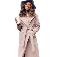 Kadın Yün Karışımları MVGIRLRU Zarif Uzun Kadın Ceket Yaka 2 Cepler Kuşaklı Ceketler Katı Renk Mont Kadın Giyim1