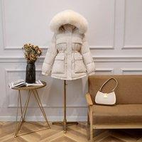 Fitaylor Branco Inverno Duck Down Jacket Mulheres Grande Collar real Fur com capuz Parkas curto Slim Design Quente Sobretudo 201118