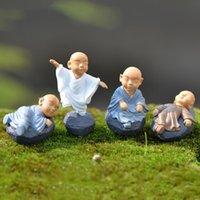 Kung fu cartoon monaco figurine mini monaco ornamenti decorazione terrarium moss succulente micro paesaggio resina monaco artigianato bambini bambini