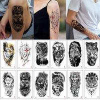 Водонепроницаемый стикер татуировки наполовину цветочные руки дизайн поддельных волка льва тигр лес король животное наклейка временное тело искусство татуировки для прохладной женщины