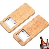 Abridor de garrafa de cerveja de madeira Aço inoxidável com abridores de alça de madeira quadrado Bar Acessórios de cozinha Presente de festa ZZC2595