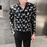 NightClub Streetwear Mens Chemises occasionnelles Chemises de style britannique de style automne Slim Shirt