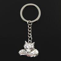 Fashion Bague de clé 30mm Bague en métal Porte-clés Keychain Bijoux Antique Argent Couleur Plaqué Wolf Tail Fox 24x28mm Pendentif
