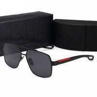 2021 الرجال الرجعية الاستقطاب الفضلات الرجال مصممين نظارات شمسية بدون شفة مطلية بالذهب مربع العلامات التجارية الشمس النظارات نظارات مع صندوق