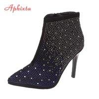 Aphixta 9cm oder 6 cm Stilettos Heel Spitz-Socken Stiefel Frauen Reißverschluss Kristalle Degen Stiletto Heels Ankle Boots Schuhe Frau Boote