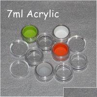 Recipiente de plástico de impressão personalizado com forro de silicone 3ml 5ml 6ml 7ml 10ml frasco acrílico para cera DAB BHO, recipientes de cera clara acrílica 9h0gt
