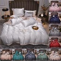 2021 conjuntos de cama de seda de venda quente 4 pcs cama sólida terno Qulit capa desenhador material de cama 10 cores