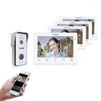 Video-Door-Telefone TMEZON Wireless Wifi Smart IP-Türklingel-Intercom-System, 10-Zoll + 3x7-Zoll-Bildschirmmonitor mit 720P-kabelgebundener Telefon-Kamera1