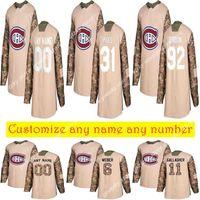 Camo Gaziler Günü Uygulama Montreal Canadiens Formalar 31 Carey Fiyat 13 Max Domi Gallagher Weber Herhangi bir Numarayı Özelleştir Hockey Jersey