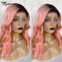 Mymirrer 1b / rosa bob parrucca ombre rosa capelli umani parrucche anteriori pizzi rosa capelli 13x4 parrucche frontali in pizzo trasparente con radici scure