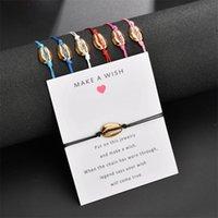 New Gold Cowries Shell Charm Wrap Bracelet con Crea un desiderio Gift Card per le donne Catena di corda delicata Semplice Beach Beach Jewelry Beach 157 O2