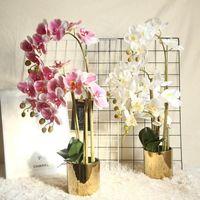 Декоративные цветы венки большие латексные 3d печать орхидеи белые искусственные руки чувствуют симуляционный цветок орхидеи для домашнего свадебного украшения
