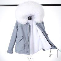 여성용 모피 가짜 2021 패션 여성 겨울 핑크 코트 짧은 긴 라이너 레이디 미스터 리얼 너구리 칼라 자켓 탑 브랜드