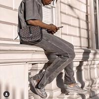 Ayak Bileği Bölünmüş Yan Çizgili Rahat Pantolon Erkek İpli Boy Katı Yıkanmış Baggy Sweatpants Yüksek Sokak Gevşek Pantolon