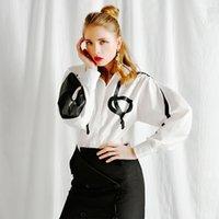 [Eam] mujeres blanco patrón puntada temperamento blusa nueva solapa larga linterna manga flojo camisa moda primavera verano ji4350 201126