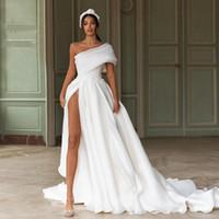 Sexy neue Mode Plus Größe Brautkleider One-Shoulder High Split Appliques Spitze Brautkleider Sweep Zug Organza Brautkleid Vestidos