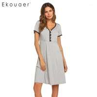 Ekouaer Nightgown Chemise SleepShirts Frauen Nachtwäsche Frauen Blumenspitze V-Freundck Kurzarm Rayon Nacht Kleid Nachtwäsche1