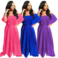 Женщины Плюс Размер Платья Женская мода Сыпучие плиссе Сплошной цвет платья ночной клуб юбка Sexy African Дизайнерские платья Размер платья Plus