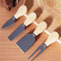 Yaratıcı Mutfak Bıçağı 4 Adet Set Paslanmaz Çelik Peynir Bıçağı Peynir Yağı Pizza Bıçaklar Ahşap Kolu Dört Parça Takım Elbise Peynir Araçları T9I00860