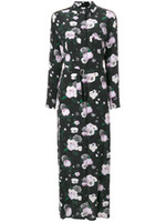 2020 Flores 100% Mangas largas de seda Cuello de giro Impresión floral con bolsillo Sash Longitud Longitud Dama Vestido Moda Blusa Camisas S102