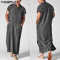 Männer Islamic Arabisch Kaftan Gestreiften Kurzarm Casual Taschen Muslimische Roben Baumwolle Saudi-Arabien Dubai Männer Jubba-Thow-Infrain 5XL