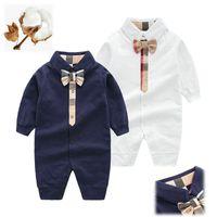 Мода Высокое Качество Новый Новорожденный Детская Одежда Костюм Симпатичные 100% Cotton Bowknot Новорожденный Мальчик Девушка Комбинезон