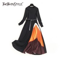 Twotwinstyle Vintage Vestido estampado irregular para las mujeres O cuello de manga larga Cintura alta con fajas Midi Vestidos Femenina Moda nuevo LJ201203