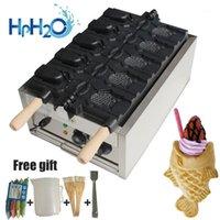 Ticari Elektrikli 5 ADET Açık Ağız Dondurma Koni Taiyaki Makinesi Balık Şekli Waffle Makinesi Makinesi Taiyaki Demir Plaka Kek Fırın1