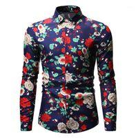 Flor floral casual festa camisa homens 2020 primavera outono novo slim fit chemise homme botão casual para baixo social shrit shirit masculino camisas1